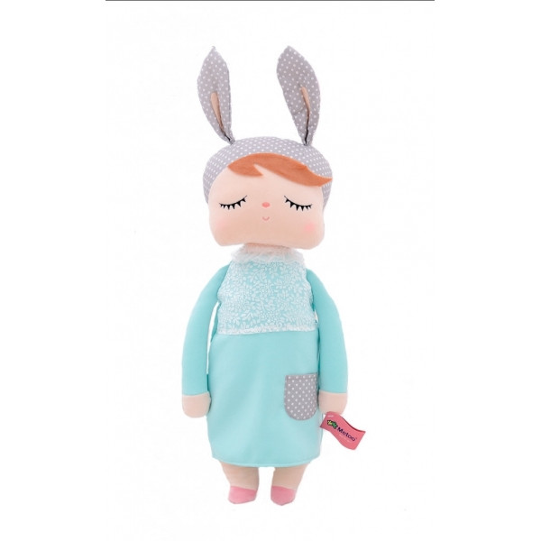 Handrová bábika Metoo XL s uškami v mätových šatičkách, 70cm