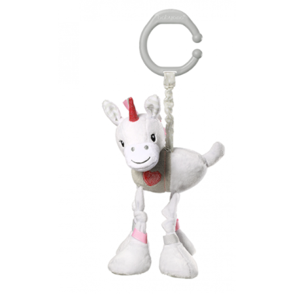 BabyOno Závesná plyšová hračka s vibráciou Jednorožec Lucky, 25 cm