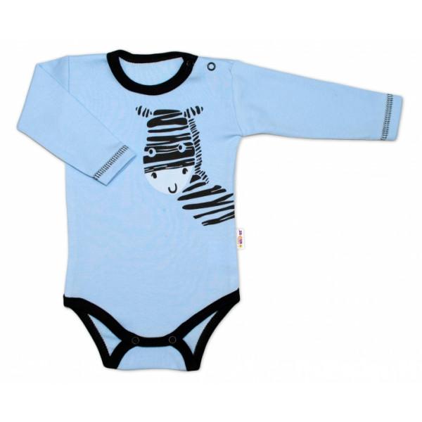 Baby Nellys Body dlhý rukáv, modré, Zebra
