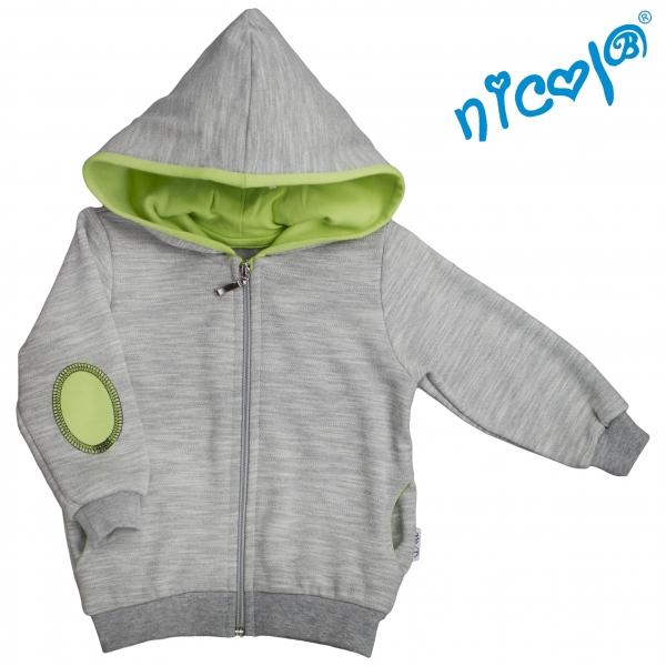 Mikina s kapucňou Nicol, zapinanie na zip, Boy - sivá/zelená
