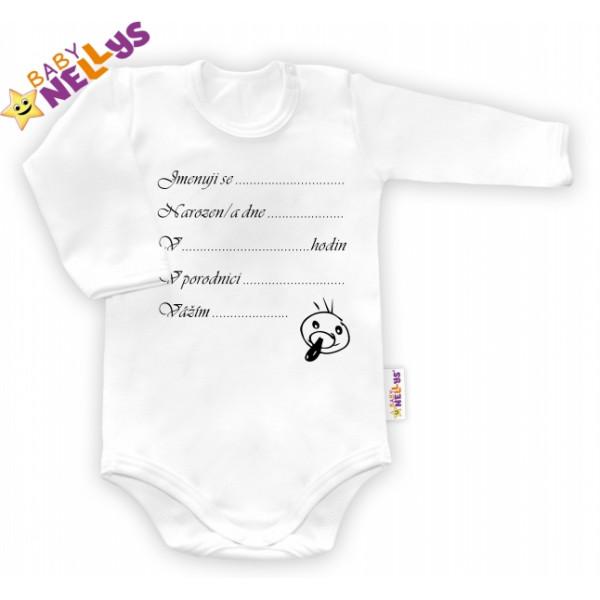 Body dl. rukáv Baby Nellys ® - biele - Narodil / a som sa ...