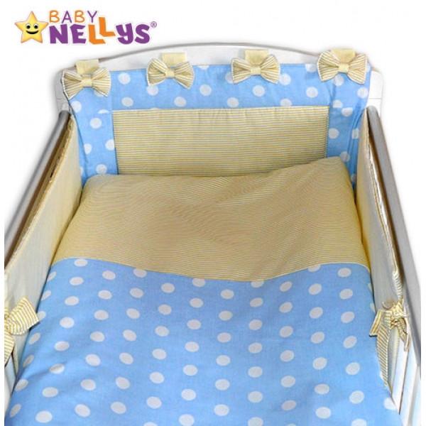 Baby Nellys Mantinel s obliečkami Mašlička - Bubble sv.modré / jemne béžovej prúžky