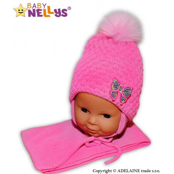 BABY NELLYS Zimné čiapky / čiapočka Mašlička - pastelovo ružová