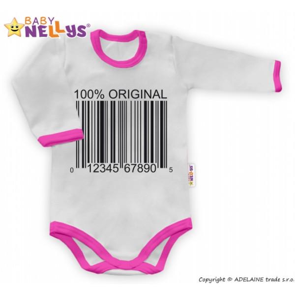 Baby Nellys Body dlhý rukáv 100% ORIGINÁL - sivé / ružový lem