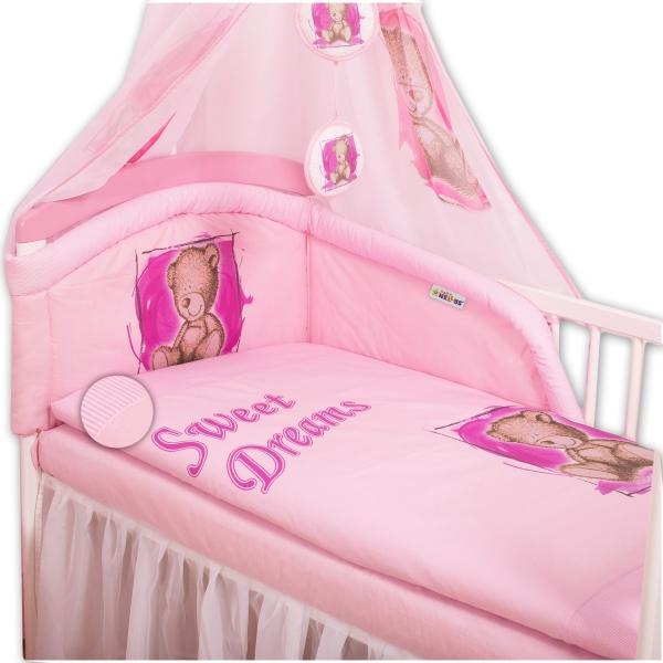 Baby Nellys Mantinel s obliečkami Sweet Dreams by Teddy - růžový