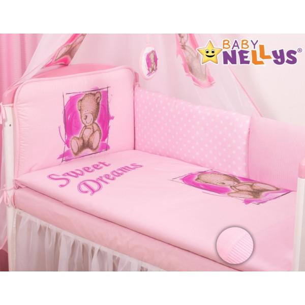Baby Nellys Mantinel 360 cm s obliečkami Sweet Dreams by Teddy - růžový
