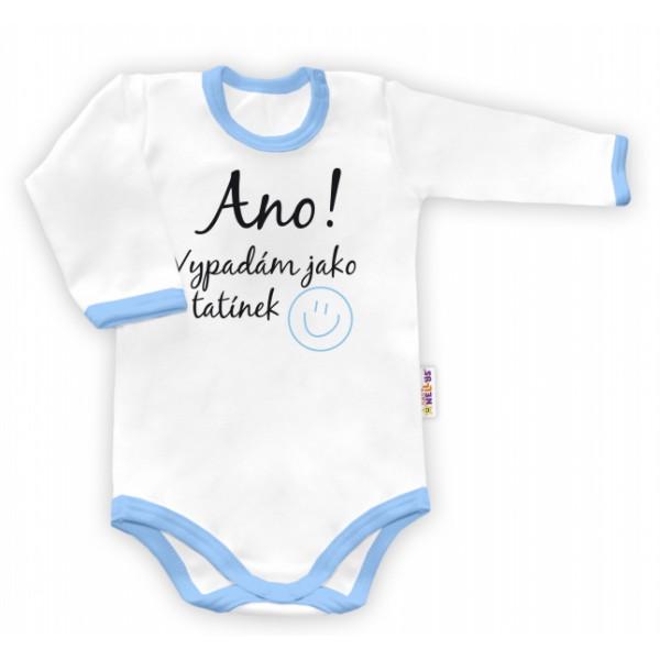 Baby Nellys Body dlhý rukáv Ano, vypadám jak tatínek - biele/modrý lem