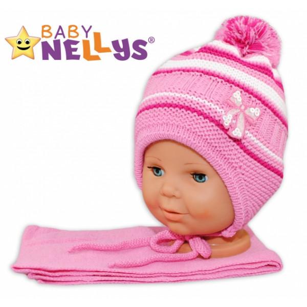 BABY NELLYS Zimná čiapočka s šálom - Mašlička - tm. ružová s pruhmi