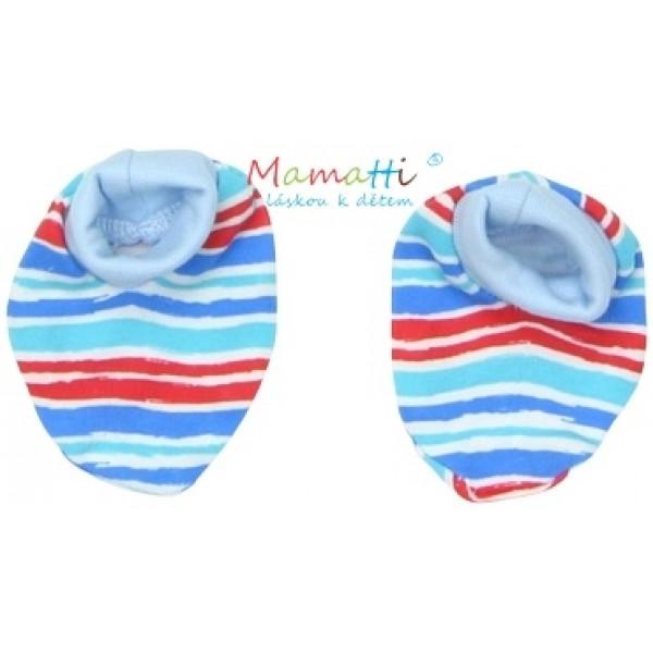 Topánočky / ponožtičky BAVLNA Mamatti - ZEBRA - sv. modré / farebné prúžky