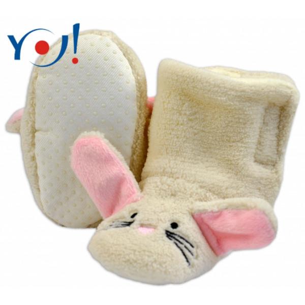 YO ! Zimné topánky/Šľapky polár YO! - králiček - smotanové