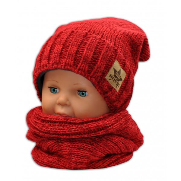 BABY NELLYS Jesenná/zimná čiapka s komínkem - červená