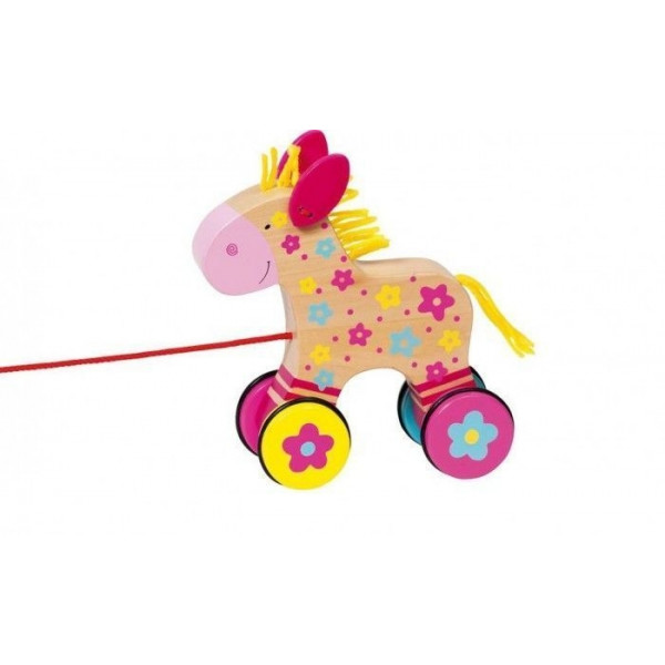 Goki Edukačná drevená hračka 15 cm ťahacia - Koníček Klára