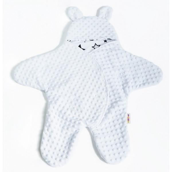 Baby Nellys Fusak, spacáček, kombinézka do autosedačky alebo kočíka uškami Minky - biely