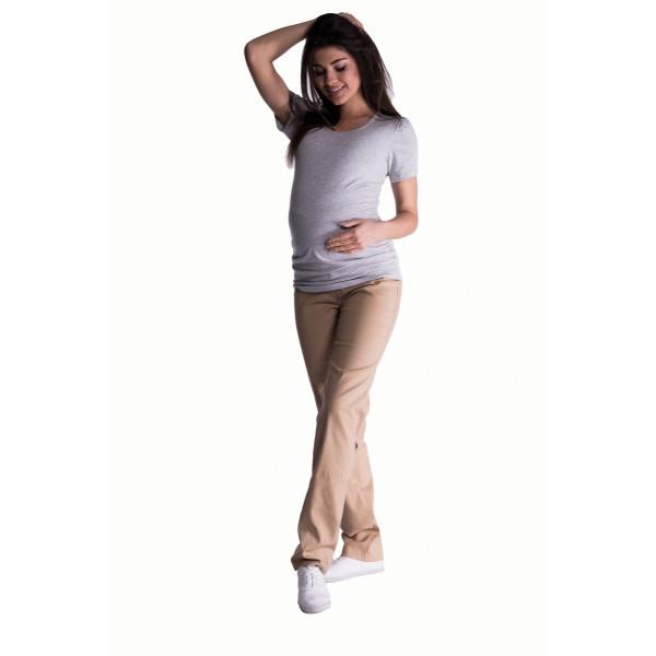 Be MaaMaa Bavlnené, tehotenské nohavice s regulovateľným pásom - béžové