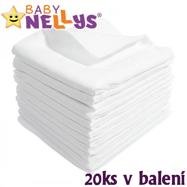 Kvalitné bavlnené plienky Baby Nellys - TETRA BASIC 70x80cm, 20ks v bal., K19