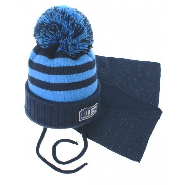 BABY NELLYS Zimná pletená čiapočka s šálom No.1 Team - prúžky granát / modrá