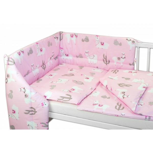 Baby Nellys 3- dielná sada mantinel s obliečkami Lama, růžový