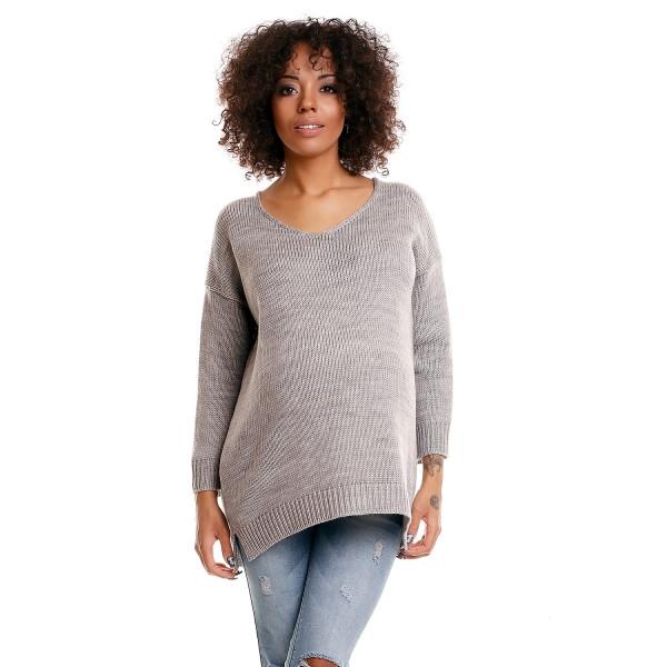 Be MaaMaa Pohodlný tehotenský svetrík s rozparkami - sv. sivý