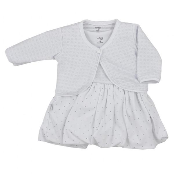 Dojčenské bavlnené šatôčky s bolerkom Koala Dots biele
