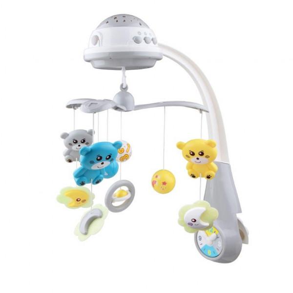 Kolotoč nad postieľku so svetelným projektorom Baby Mix grey