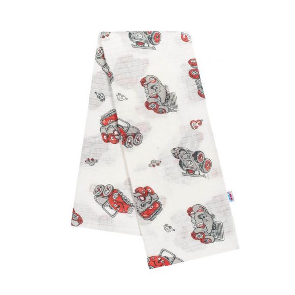 Bavlnená plienka s potlačou New Baby biela s červenými autíčkami