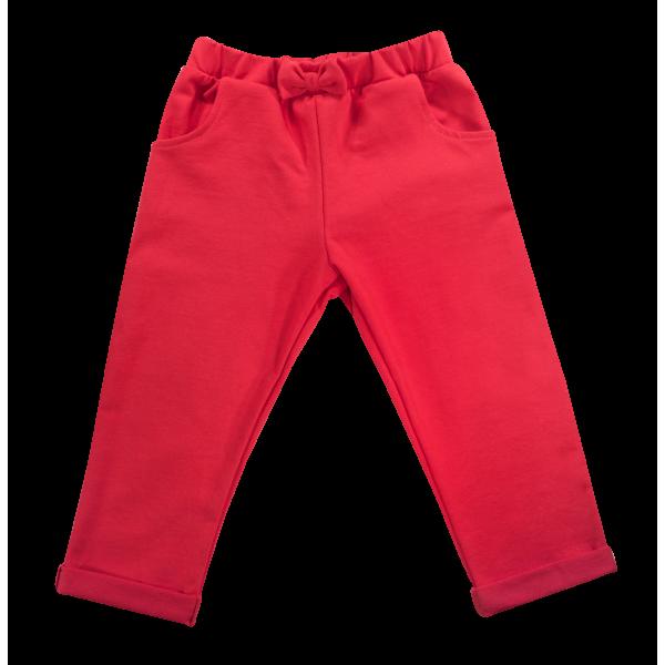 Mamatti Bavlnené tepláčky s mašličkou a kapsami Baletka, červené