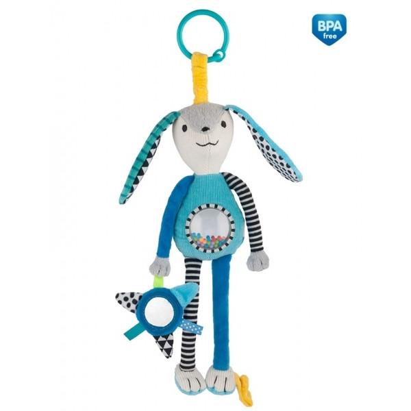 Canpol babies Závesná plyšová hračka so zrkadielkom a hrkálkou - modrá