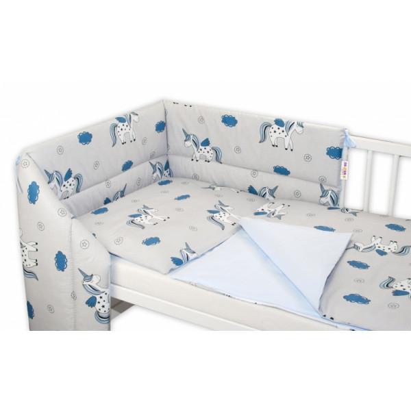Baby Nellys 3- dielná sada mantinel s obliečkami Jednorožec - sivá/modrá