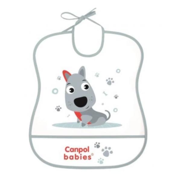 Canpol babies Plastový podbradník s vreckom Cute Animals - Psík