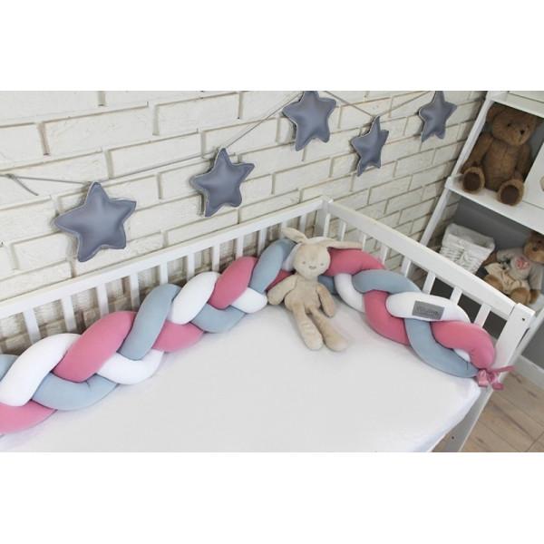 Mantinel Baby Nellys pletený vrkoč - růžová,sivá,biela