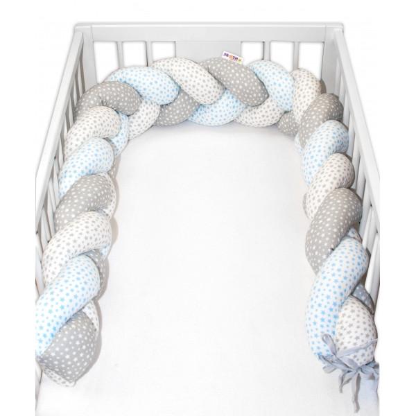 Mantinel Baby Nellys pletený vrkoč Stars - modrá, biela, sivá