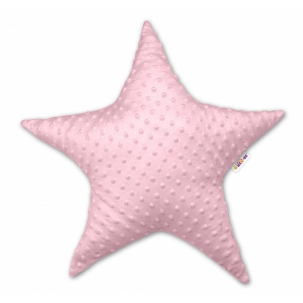 Baby Nellys  Detský dekoračný vankúš Baby Nellys, hviezdička - Minky růžový