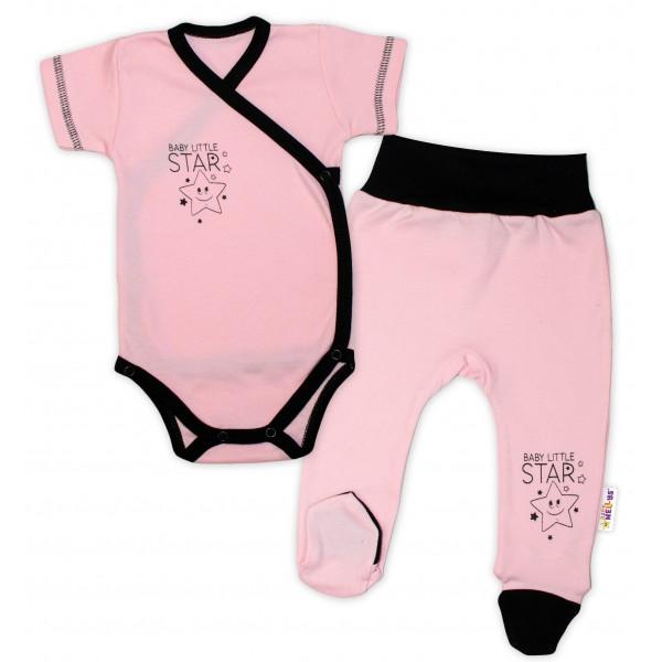 Baby Nellys 2-dielna sada body kr. rukáv + polodupačky, ružová - Baby Little Star