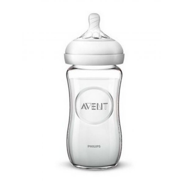 Detská sklenená fľaša Avent Natural, 240 ml