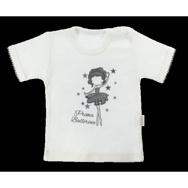 Bavlnené tričko Mamatti Baletka krátky rukáv - smetanové