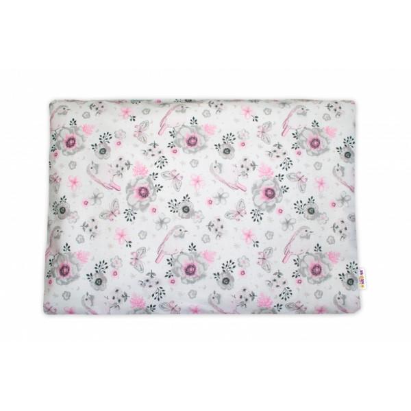 Baby Nellys Povlak na vankúšik Ptáčki, 40x60 cm - růžový