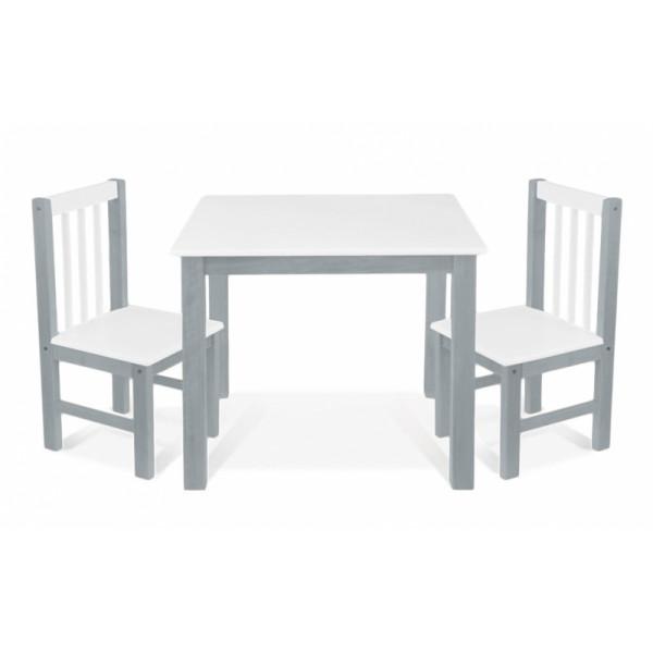 BABY NELLYS Detský nábytok - 3 ks, stôl s stoličkami - sivá, biela, A/06