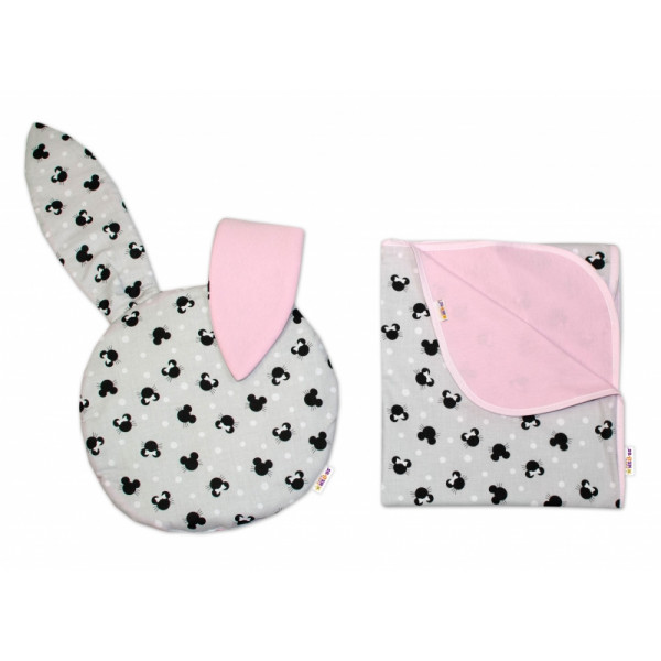 2-dielna súprava do kočíka Baby Nellys jersey s uškami, Minnie - sivá/ružová