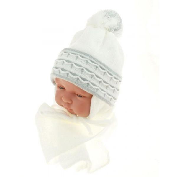 BABY NELLYS Zimná čiapočka s šálom - s imitáciou volánikmi - sivá