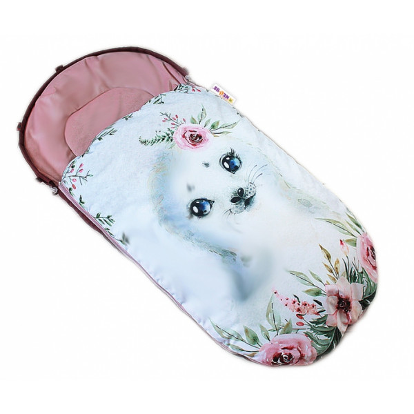 Detský fusak Baby Nellys WINTER LUXURY velvet, 105 x 55 cm - lachtánek / pudrově růžová