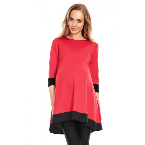 Be Maamaa Tehotenské asymetrické mini šaty/tunika - červené