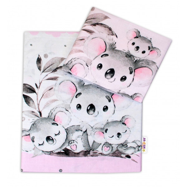 2-dielne bavlnené obliečky Baby Nellys - Medvedík Koala -  ružový