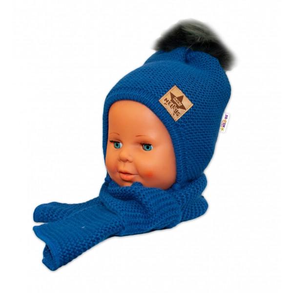BABY NELLYS Zimná čiapočka s šálom - chlupáčková Bambulka - granátová/tm. sivá