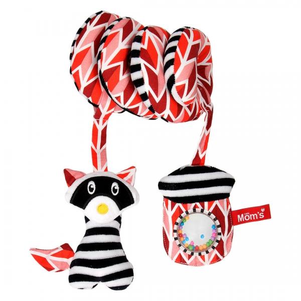 Hencz Toys Edukačná hračka Hencz s hrkálkou a zrkadlom, ShopHop - špirálka - červená