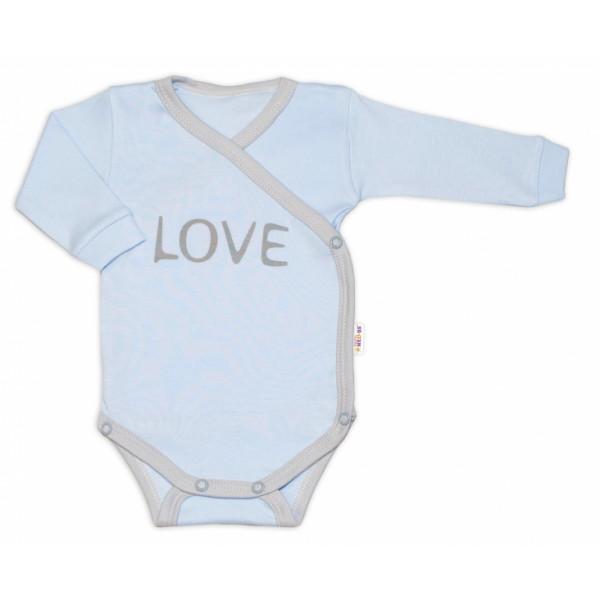 Baby Nellys Body dlhý rukáv Love - zapínanie bokom, modré