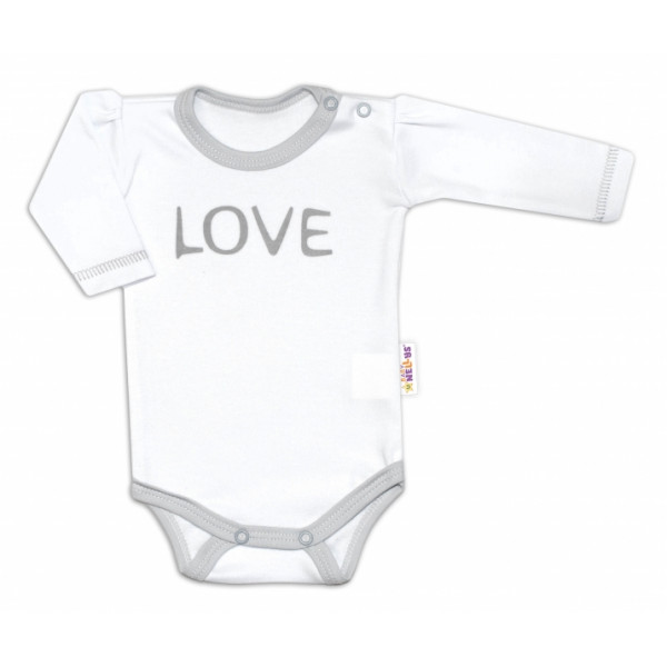 Baby Nellys Body dlhý rukáv Love - biely