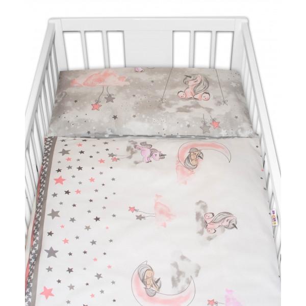 2-dielne bavlnené obliečky Baby Nellys Jednorožec - sivé