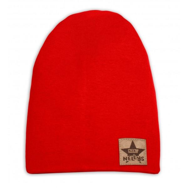 Baby Nellys Hand Made Jarná/jesenná bavlnená čiapka - dvojvrstvová, červená