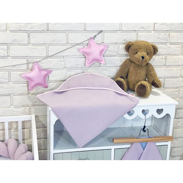 BABY NELLYS Osuška s kapucňou 80 x 80 cm - vaflová, ružová