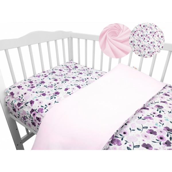 2-dielne bavlnené obliečky Baby Nellys - Lučné kvietky, růžové
